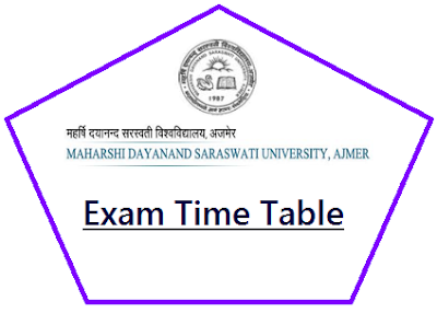 MDSU Ajmer Time Table 2019