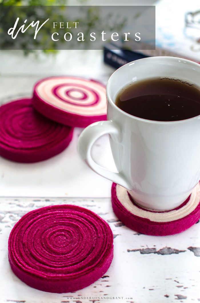Learn how to make these quick and easy DIY felt coasters for under your hot and cold beverages. #simpleDIY #easycrafts #felt #andersonandgrant