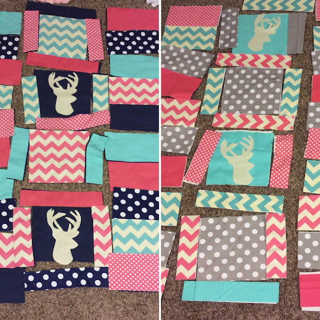 Quilts for baby girl before being sewn