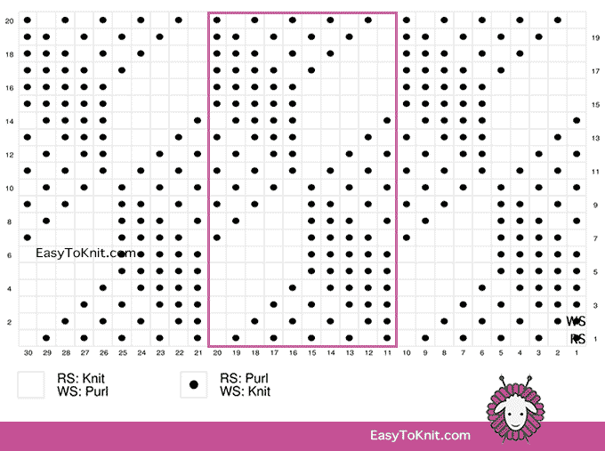 Tumbling Moss Block Knit Purl Chart