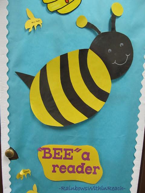 "photo of: Classroom Door Decoration: ""Bee"" a Reader"