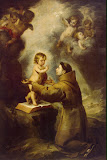 Vision of St Antony of Padua by Bartolome Esteban Murillo - Christianity Paintings from Hermitage Museum