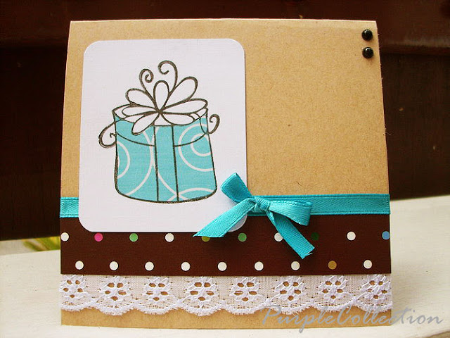 Square Birthday Cards, polka dots, blue ribbon, lace