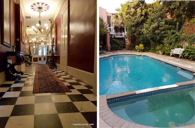 Recepção e piscina do Lamothe House Hotel em Nova Orleans