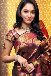 south indian celebrity actress tamanna in beautiful designer silk saree