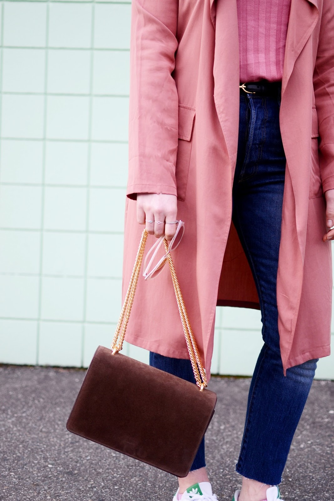 Rose duster jacket forever 21 outfit vancouver fashion blogger AGNEEL sophie bag brown suede miss stan smith
