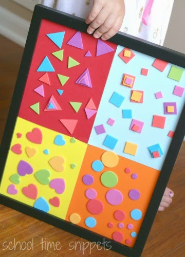 Kid art projects - shape sorting collage