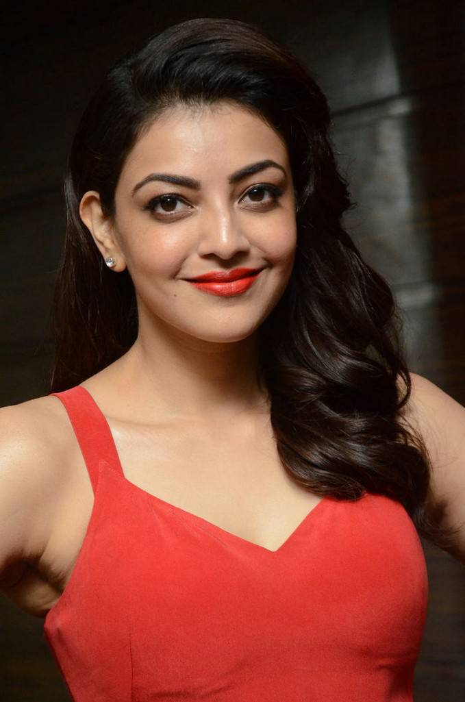 Kajal Aggarwal In Red Dress Ponds Starlight Perfumed Talc Launch