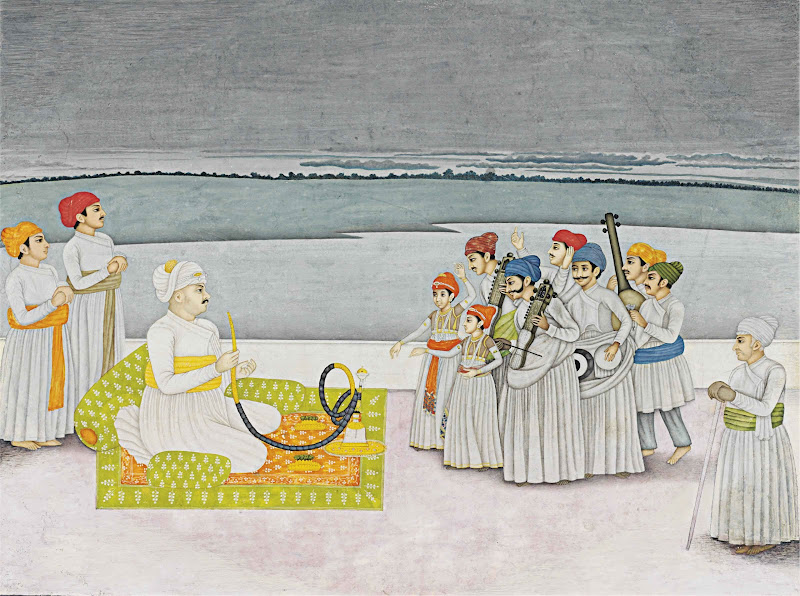 A Prince Entertained by Musicians - Miniature Painting, Probably Faizabad or Murshidabad, India, Circa 1780