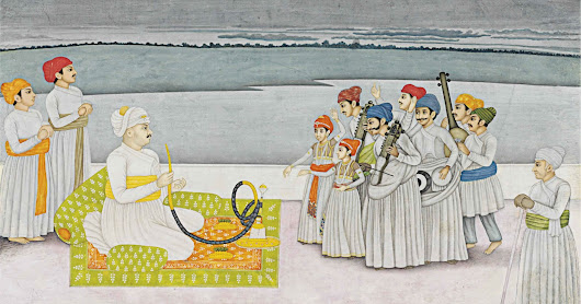A Prince Entertained by Musicians - Miniature Painting, Probably Faizabad or Murshidabad, India, Circa 1780 - Old Indian Arts
