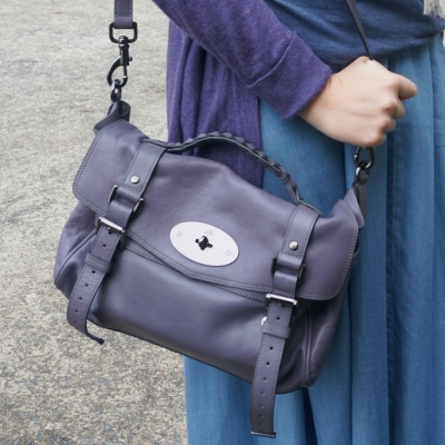 Mulberry regular Alexa bag in foggy grey and chambray maxi skirt | AwayFromTheBlue