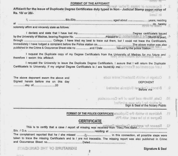 How to obtain Duplicate Degree Certificate from University of Madras