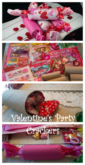 Valentines Day Party Crackers at Adorned From Above www.adornedfromabove.com  Supplies:  7 small bags of any type of wrapped candy ( I used Smartees, chocolates, and suckers) Valentine's Day Stickers Valentine's Day Erasers 1 package Valentine's Day Tissue Paper 3 rolls of Decorative Ribbon (3 yards each) 1 double stick tape