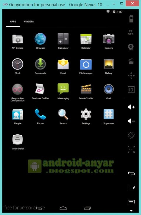 Tampilan HP pada Android Genymotion PC Windows