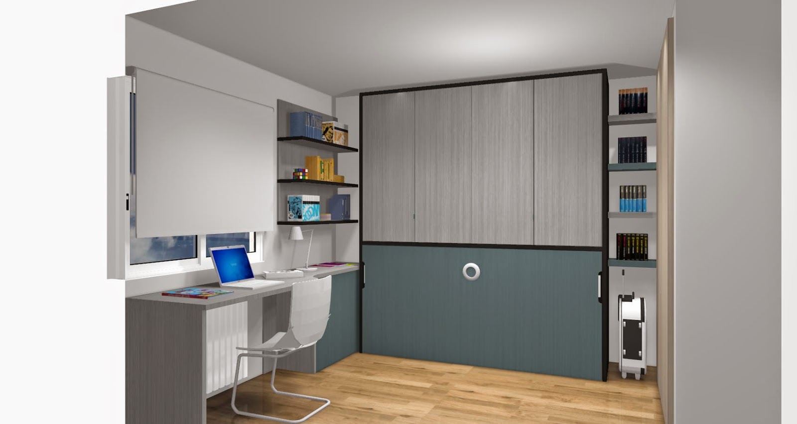 Dise o de cuartos o dormitorios juveniles for Habitaciones juveniles abatibles