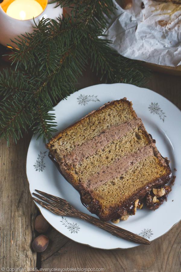 ciasto orzechowe z orzechów laskowych z kremem czekoladowym