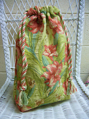 Upcycled upholstery sample into drawstring bag.