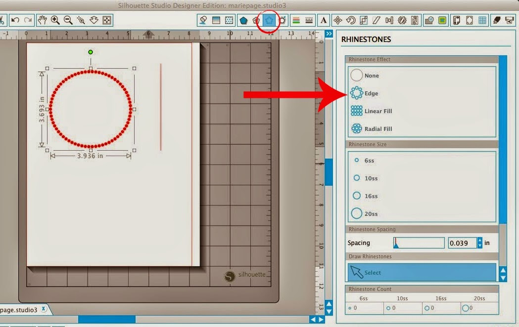 Polka dot, shapes, Silhouette Studio, Silhouette tutorial, rhinestone tool