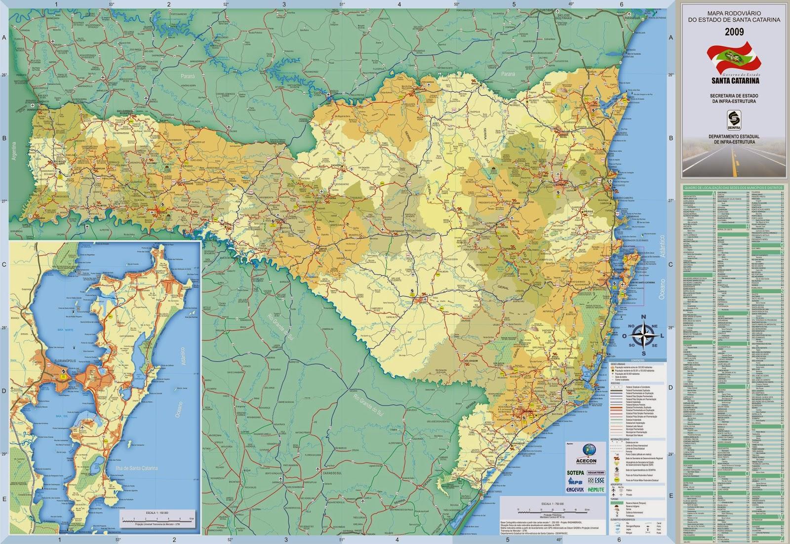 Mapas Geográficos de Santa Catarina