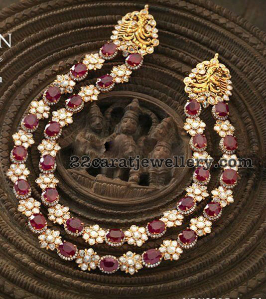 Ruby Moissanite Stones Floral Set