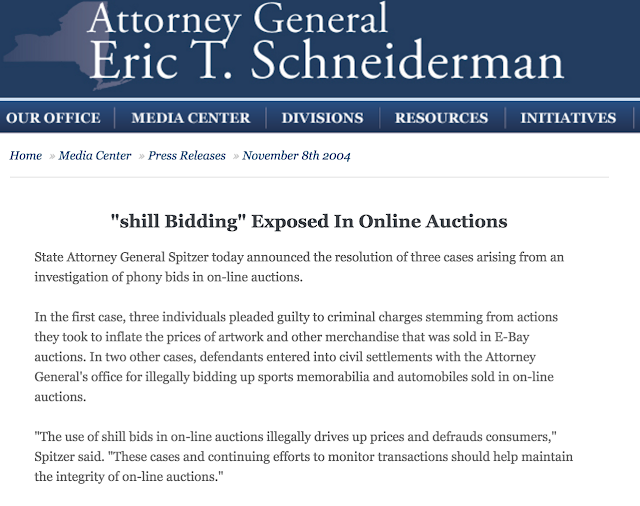 Attorney General Eric T. Schneiderman will prosecute illegal shill bidding by online auctions