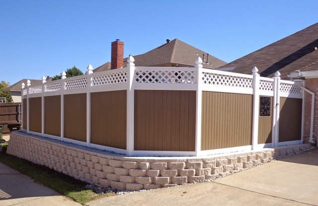 Vinyl Fence with Retaining Wall