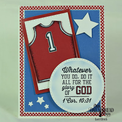 Our Daily Bread Designs Stamp Sets: Team Work, All Star Jersey, Paper Collection: Old Glory, Custom Dies: Sports Jerseys, Double Stitched Rectangles, Rectangles, Double Stitched Circles, Sparkling Stars