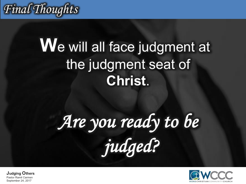 Pastor Ramil Carmen's Blogs: Judging Others
