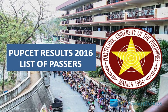 List of Passers: PUPCET Results AY 2016-2017 release online