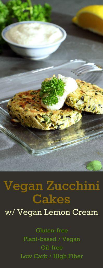 Baked Vegan Zucchini Cakes crisp to a golden brown with a fresh herbal taste. Dollop them with vegan lemon cream for the ultimate complement of flavors! #vegan #vegandinner #glutenfreedinner #plantbased