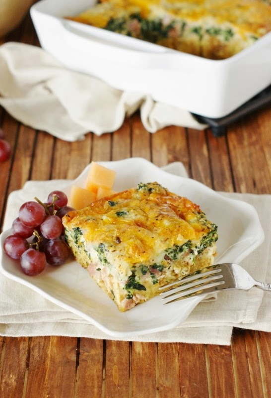 Ham and Cheese Breakfast Casserole with Spinach from The Kitchen is My Playground