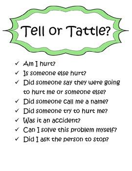 http://www.teacherspayteachers.com/Product/Telling-Vs-Tattling-Activity-Pack-464427