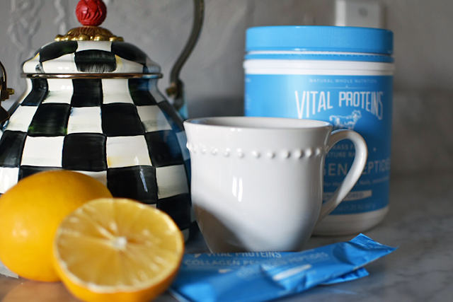 vital proteins collagen peptide powder lemon water coffee morning routine supplements vitamins whole 30 paleo health wellness mackenzie childs tea pot