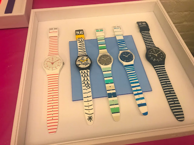 Nautical Swatch Watches on Display