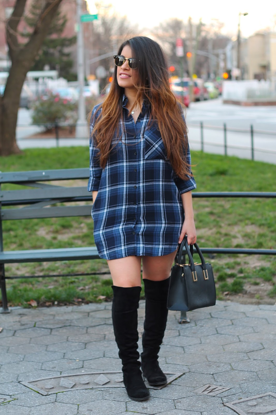 Plaid Flannel Shirt Dress & Knee-high Boots. - New York Petite