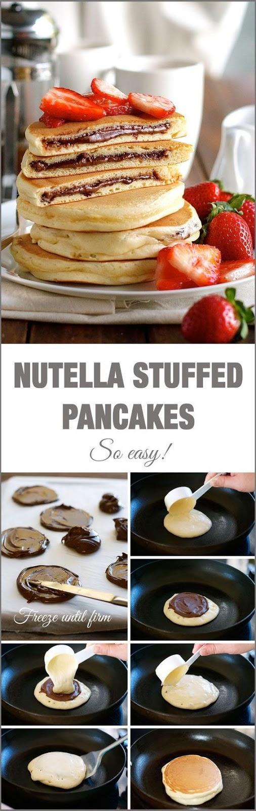 NUTELLA STUFFED PANCAKES