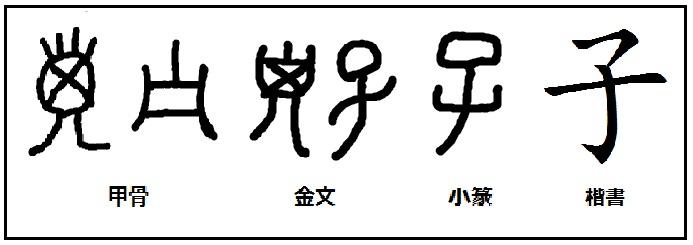 漢字の起源と成り立ち 「甲骨文字の秘密」: 漢字「子」の起源と由来 ...