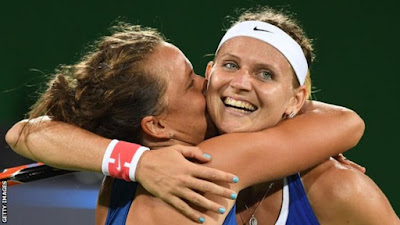 Strycova and Safarova won in one hour 33 minutes at the Olympic Tennis Centre