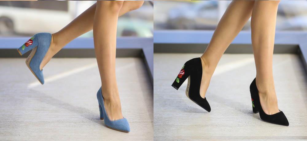Pantofi Stiletto cu toc gros negri, albastri piele intoarsa ieftini