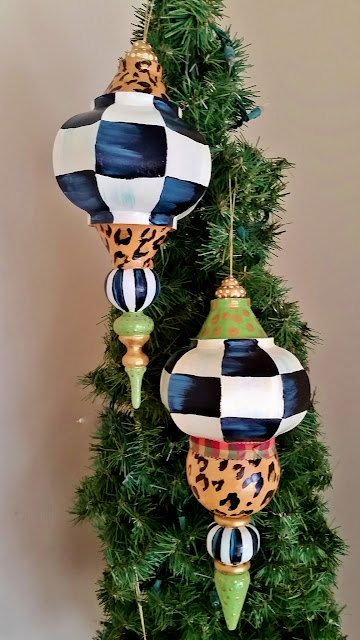 giant finial Christmas ornaments, whimsical, colorful