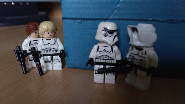 Luke and Han Solo as stormtroopers