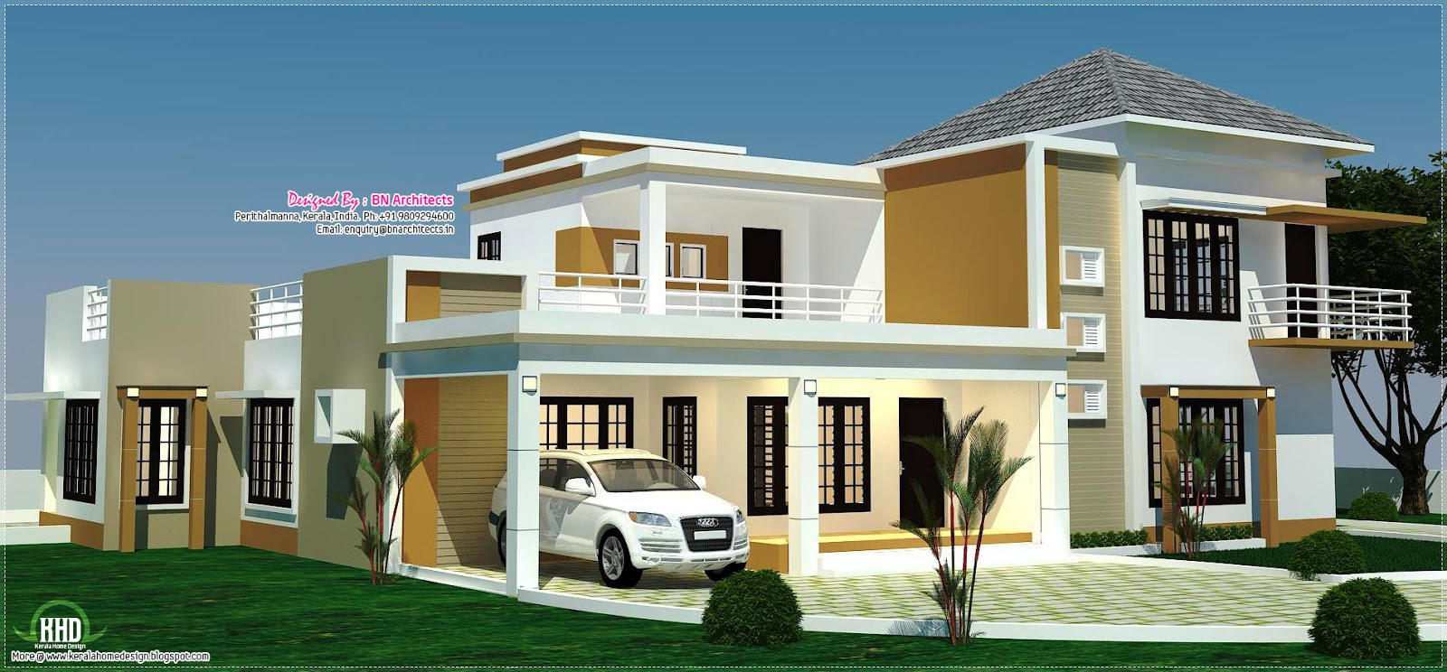 Floor plan 3d views and interiors of 4 bedroom villa for Building house with side views