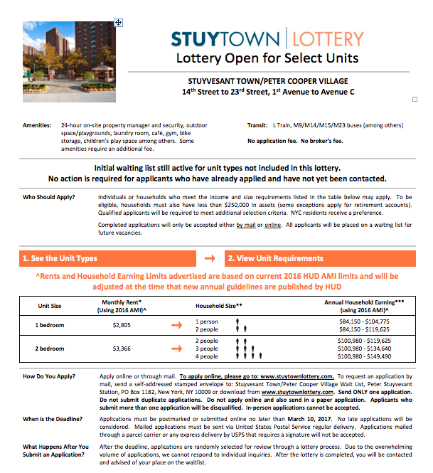 ev grieve 1 week left to apply for the stuy town lottery