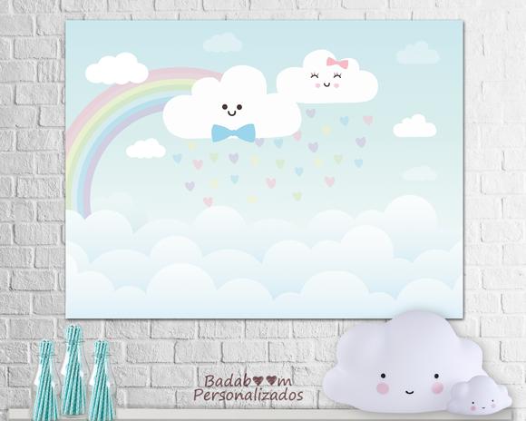 painel, arte, digital, chuva de bençãos, nuvens, festa, infantil