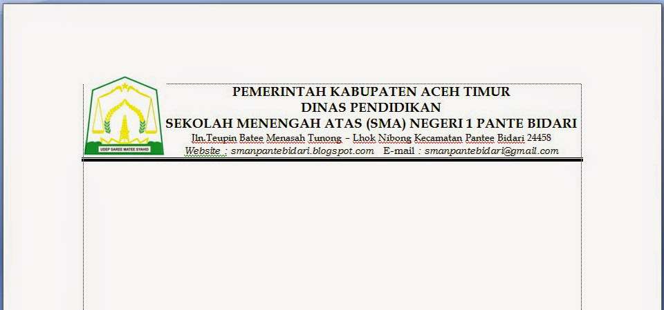 Kop Surat Dinas Pendidikan Aceh Timur - Contoh Kop Surat