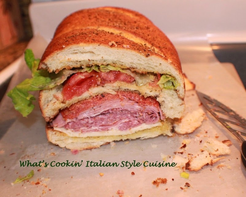 how to make an Italian stuffed submarine sandwich antipasto