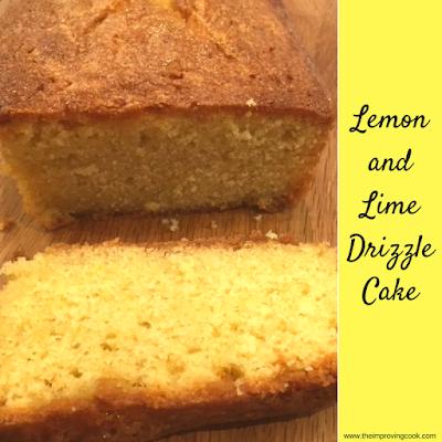 Lemon Lime Drizzle Cake pinnable image