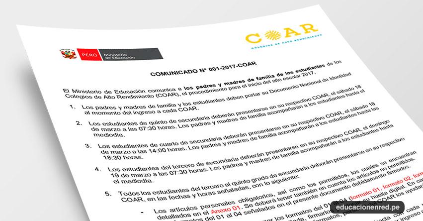 COAR: Comunicado Inicio del Año Escolar 2017 en los Colegios de Alto Rendimiento - MINEDU - www.minedu.gob.pe