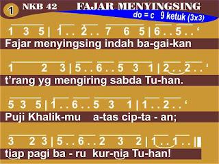 Lirik dan Not NKB 42 Fajar Menyingsing