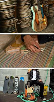 Guitarras eléctricas artesanales fabricadas reciclando tablas de skate